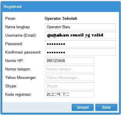 Isi Nama Operator Baru (yang akan mengganti)
